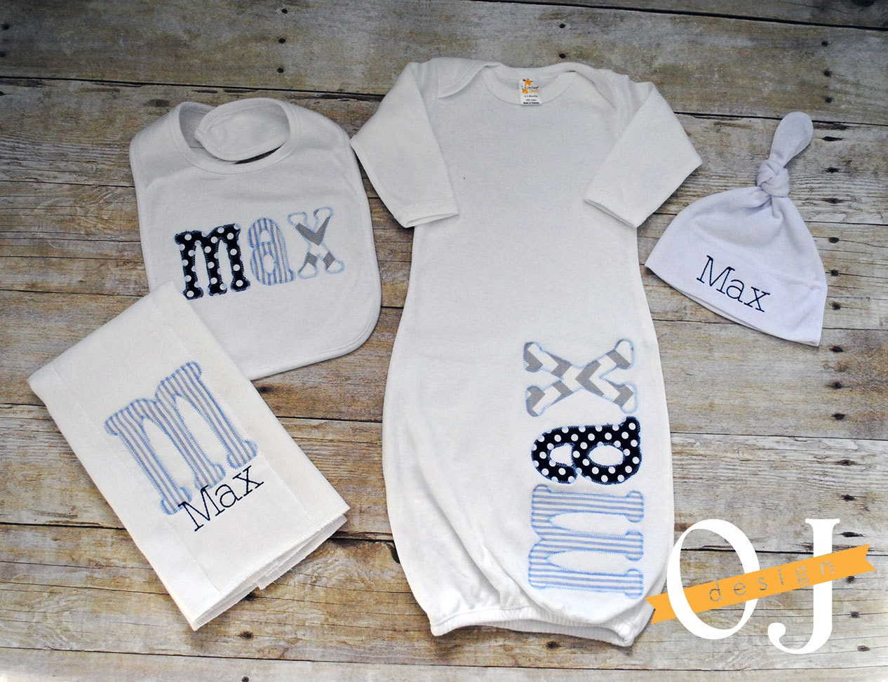 Personalized Baby Gift Sets : Personalized baby boy gift set newborn infant