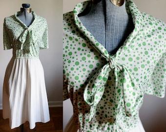 Large / Extra Large - Green Polka Dot Dress