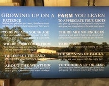 Father's Day Gift - Custom Photo Growing Up On A Farm Values Wood Sign - Christmas Gift, FFA, Farming, Father's Day, Farm Family