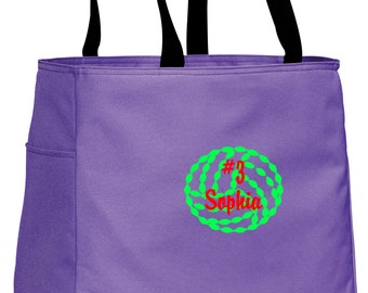 Personalized Tote Bag Embroidered Tote Bag Custom Tote Bag - Sports - Volleyball 1 - B0750