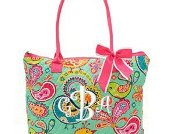 "Personalized Quilted Paisley Bird Print Tote with Detachable Bow - Large 12"" Tote Bag with Pink Handles - BRQ1515-HP"