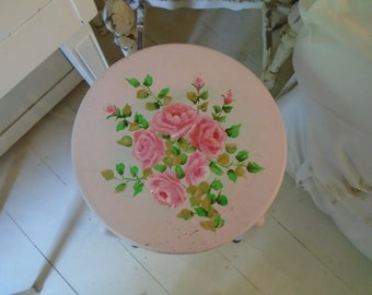 Vintage Shabby  Chic Stool with  Hand Painted Pink Roses On A Chippy Pink Background Farmhouse Shabby Chic Prairie Cottage Decor