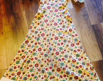 1930's floor length cotton floral print dress- in great shape!