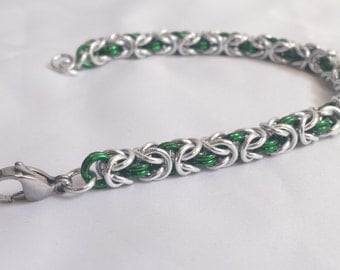 Chainmail Bracelet - Silver and Green Byzantine Weave