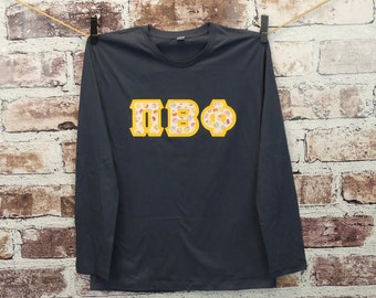 Pi Beta Phi Large Navy Alternative Apparel Long Sleeve Tee with Cupcakes Fabric on Gold Twill