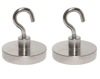 2 Pack - 55lb (25 kg) N48 Magnetic Hooks, Neodymium Rare Earth Magnetic Hooks, Heavy Duty Utility Hook Magnet, Utility Hooks (55 Pound)