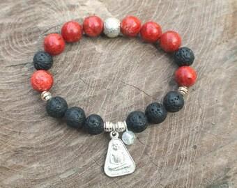 Bouddha charm Meditation Bracelet - Multi stones,  Rudaksha Men Bracelet - Natural GemStone bracelet - Gift - Vitality, Energy Bracelet