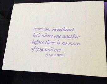 Letterpress Rumi Quote Card