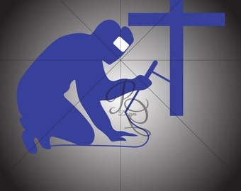 Welder Praying Decal