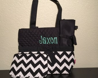 Chevron Print Monogrammed Diaper Bag Black and White