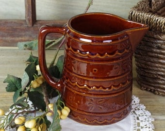 Great Condition Marcrest Pottery Pitcher, Kitchenware, Pottery Vase, Brown Pottery, Rustic Home Decor, Flower Vase, Syrup Pitcher #10-2