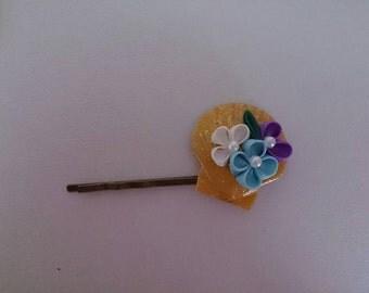 Thumb filigree flower hairpin 8-3
