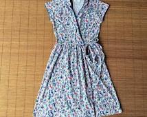 Vintage LANZ Originals Novelty Print Wrap Dress / Grape Pickers / Harvest / Jersey Knit / Shirtdress