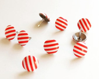 Decorative nails painted red - white stripes upholstery nails