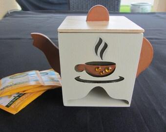Wooden Tea pot, Tea pot dispenser , Wooden tea pot bag, Decorative tea pot.
