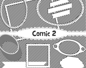 comic book clipart comic decorations comic tags black and white frames comic frame digital comic scrapbook paper