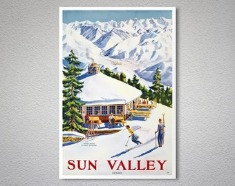 Sun Valley Idaho Travel Poster - Poster Print, Sticker or Canvas Giclee Print