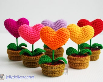 Crochet Heart Plants