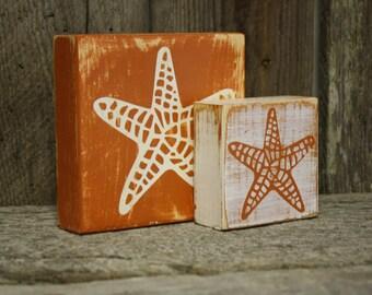 Starfish Blocks, Starfish Decor, Summer Decor, Beach Decor, Rustic Starfish Decor, Weathered Starfish Blocks, Rustic Starfish Blocks