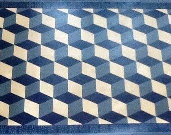 Tumbling block design floorcloth 3' X 5'