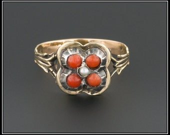 Antique Victorian Coral Ring | 14k Gold Coral Ring | Coral & Pearl Ring | Antique Coral Ring | 14k Gold Victorian Ring