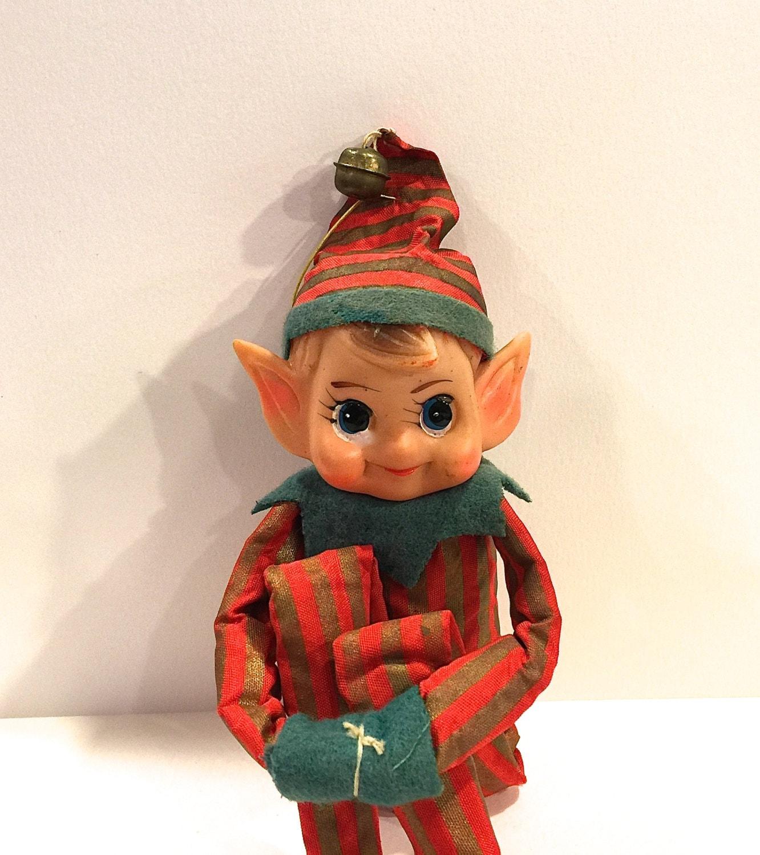 Vintage Elf Knee Hugger Christmas Ornament 5 Inch Sitting