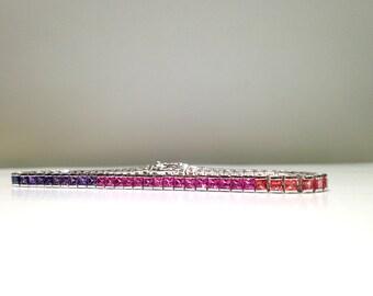 7.00 Carat Rainbow Sapphire Bracelet in 925 Sterling Silver (WATCH HD VIDEO)