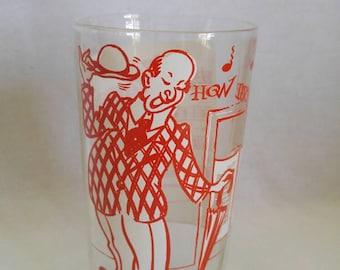 How Dry I Am Tumbler, Vintage Barware, Drinking Glass, Hazel Atlas Barware, Melody Song Glass, Sheet Music Glass