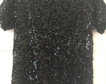 Black Sheer Beaded Top