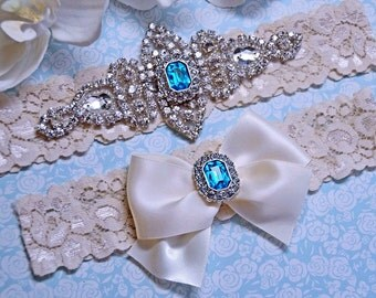 Wedding Garter, Blue Crystal Bridal Garter, Ivory Lace Wedding  Garter, Ivory Wedding Garter Set with Blue Rhinestone, Something Blue