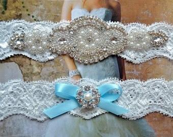 Wedding Garter-Garters-Stretch lace-blue garter-Garter-Rhinestone-Pearl garter-Keepsake-Something Blue-Lace Garter-bridal garter-ivory