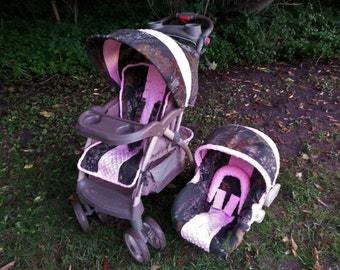Mossy Oak Lime Green Pink Minky Baby Car Seat Cover Infant