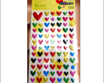 Puffy Heart Stickers, 1 sheet, stickers, Korean stationery, scrapbooking, journal sticker, diary sticker, UK seller