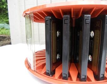 Vintage Luxor Round Cassette Carousel Holder, Luxor Cassette Rack, Retro Revolving Cassette Holder, Cassette Storage, Cassette Carrier