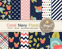 Coral Navy Floral digital paper,  Coral Flowers for Digital scrapbooking, invitations, birthday, wedding, Planners