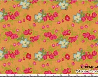 SALE! Yard Cut Paris Apartment by Bari J for Lucien Blue and Red Flowers Orange Background 30346 40