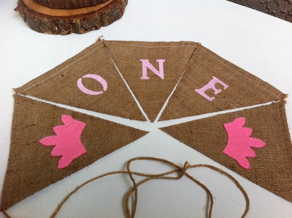 One Burlap banner with pink felt tiaras Baby Girl First Birthday Sign Decoration Cake smash- Ready to ship!