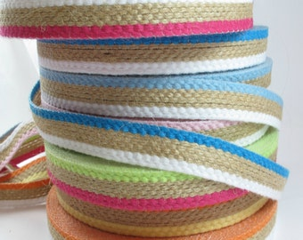 10 Meters Burlap Ribbon With Tree Colors, Suitable Ribbon For Present Wrapper And Decoration, Thick Burlap Ribbon 13mm