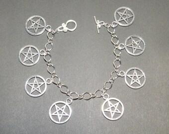 Pentagram Pentacle Wicca Pagan Sabbat Charm Bracelet - Sanguine Rose Designs