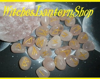 Rose Quartz hand-engraved runes