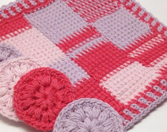 Handmade crochet washcloths and cotton pads Dimensions 21.5 x 21.5 cm or 8.25 x 8.25 ins washcloth & 7 cm or 2.5 ins cotton pads