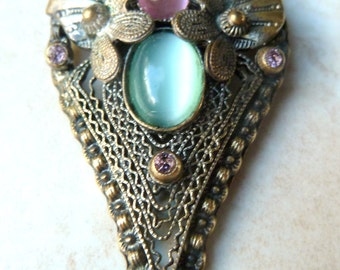 Vintage Satin Glass And Rhinestone Dress Clip.