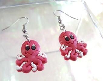 SALE little red Octopus dangle earrings.