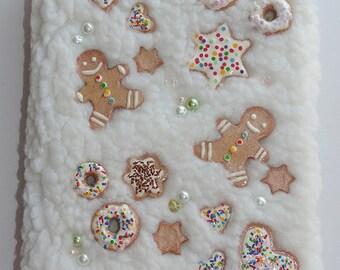 20% off Handmade notebook with miniature gingerbread cookies, journal diary, sketchbook