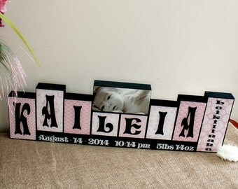 Baby Name Wood Sign, Baby Girl Nursery Decor, Wooden Name Blocks Personalized with Birth Stats, 7 Letters First, Middle Name and Photo Block