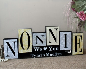 Nonnie Decor, Handmade Gift, Christmas Present for Nonnie, Gift from Grandkids, Gift for Her, Birthday Present, Nonnie Wood Blocks Sign