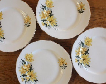 Four Side Plates Royal Vale Bone China ~ Sunny Yellow ~ Vintage Mismatched China ~ High Tea Wedding