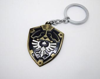 Zelda shield keychain - legend of Zelda - Free Shipping - link triforce Hylian shield figure toy key chain big
