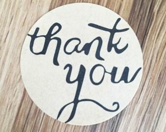 "Sticker round Kraft - ""Thank You"" - LOT of 10"