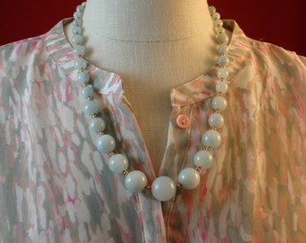 """Graduated aquamarine gemstone beads & 14KT rose gold fill clasp, the """"TAZIA"""" womens bead gemstone necklace by Rochelle Fiorito Necklaces."""